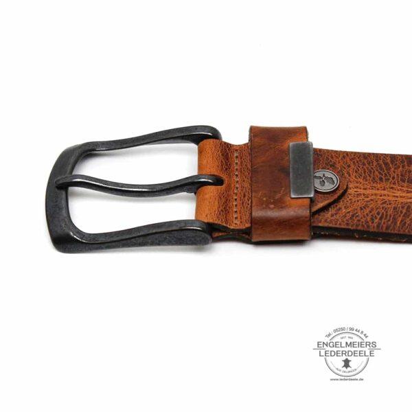 Herrengürtel Robin Green Belts cognac Schließe