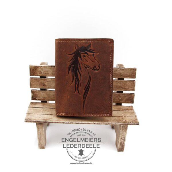 Pferde Riegelbörse Jockey Club cognac Produktansicht