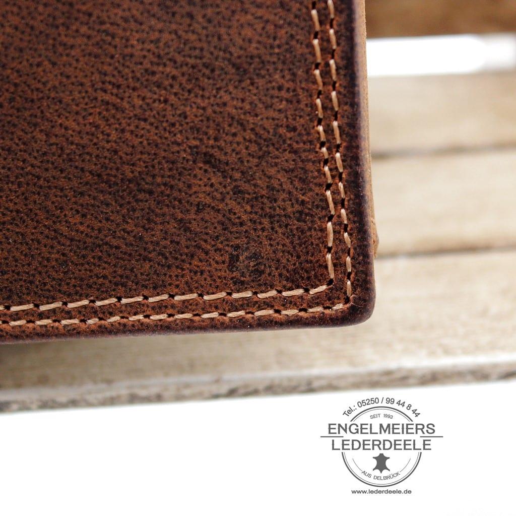Pferde Riegelbörse Jockey Club cognac Detailaufnahme