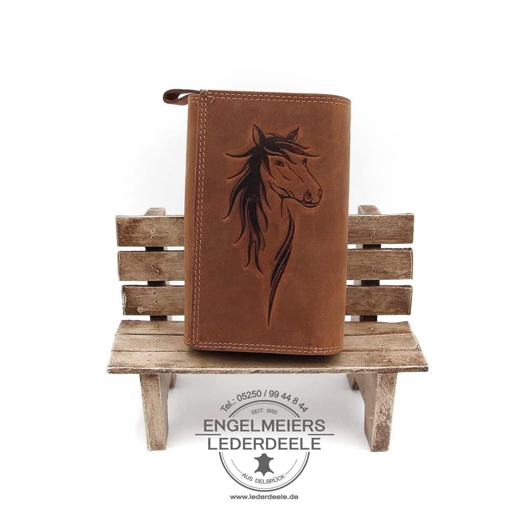 Pferde Portemonnaie XL Jockey Club cognac Produktansicht