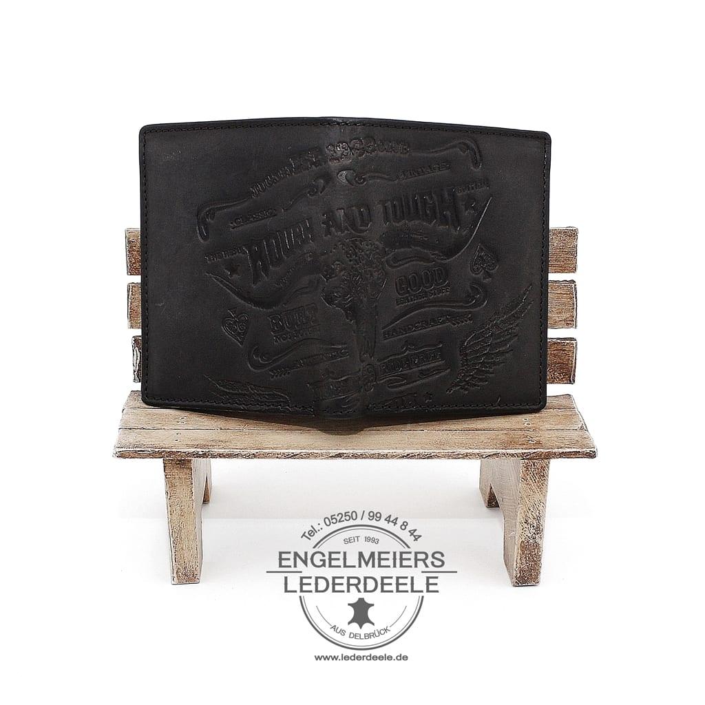 Schaltfläche zum Produkt Jockey Club Portemonnaie im Hochformat mit Stier Motiv, Schrift und Details