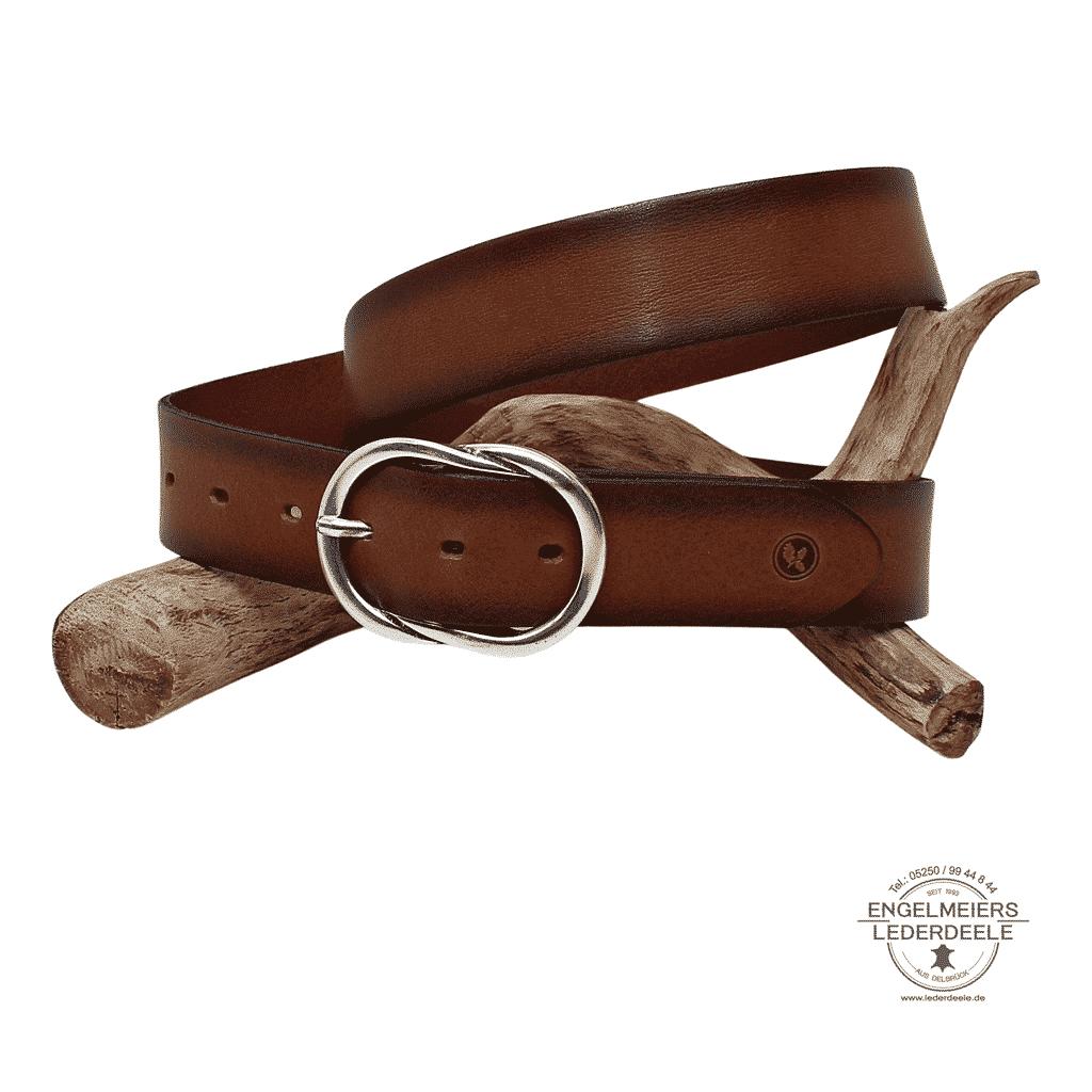 Damengürtel Andrea Green Belts cognac Schaltfläche