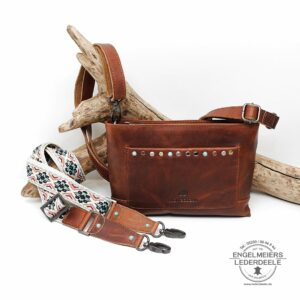 Schaltfläche micmacbags Handtasche aus Voll-Rindleder - cognac