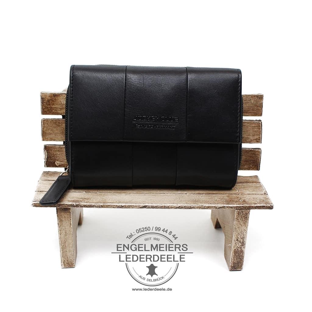 elegante Geldbörse Damen Jockey Club schwarz Schaltfläche