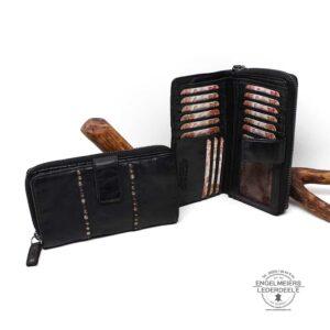 Damen Portemonnaie Ziernieten groß Jockey Club schwarz Schalfläche