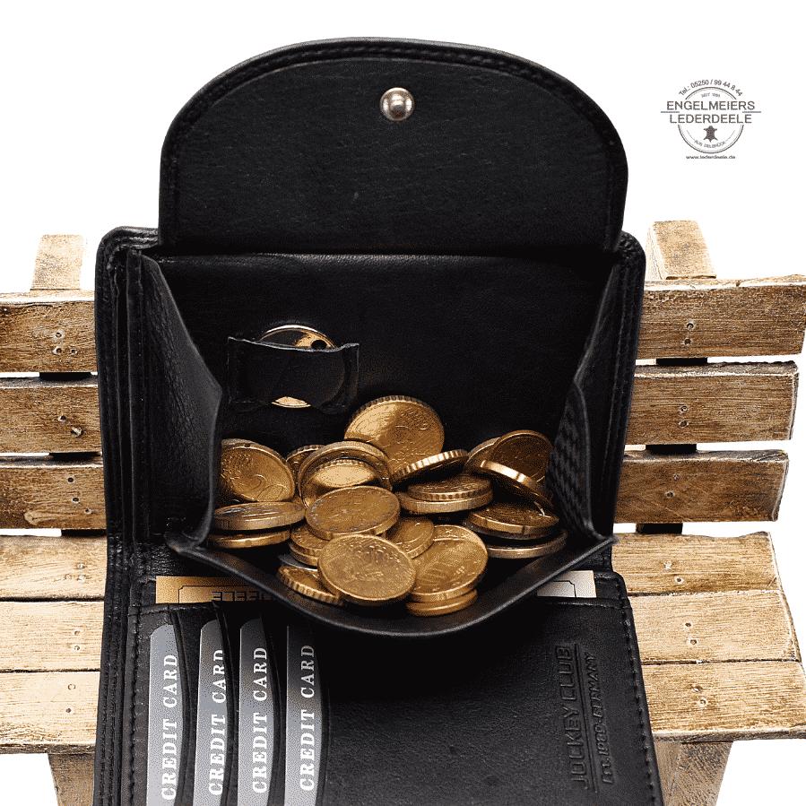 Basic Portemonnaie RFID Hochformat Jockey Club schwarz Detailaufnahme Münzfach