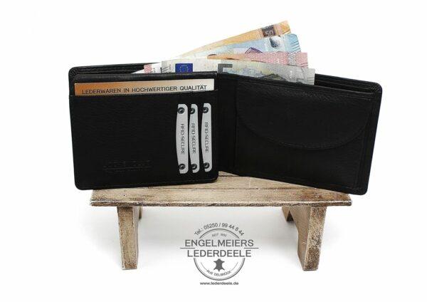 Basic Portemonnaie RFID Querformat Jockey Club schwarz Produktansicht