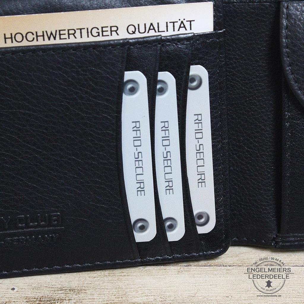 Basic Portemonnaie RFID Querformat Jockey Club schwarz Detailaufnahme