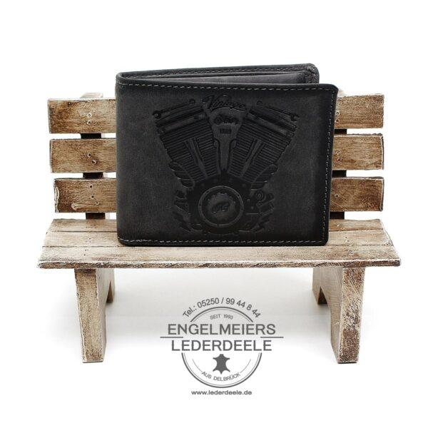 Portemonnaie V-Motor Querformat grau Jockey Club Produktansicht