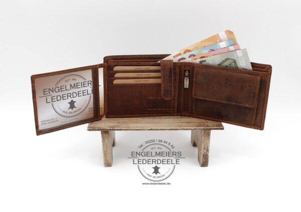 Riegelbörse Hecht Jockey Club cognac Produktansicht