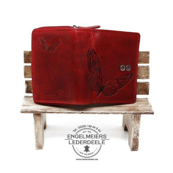 Damenbörse Schmetterling midi Jockey Club rot Produktansicht