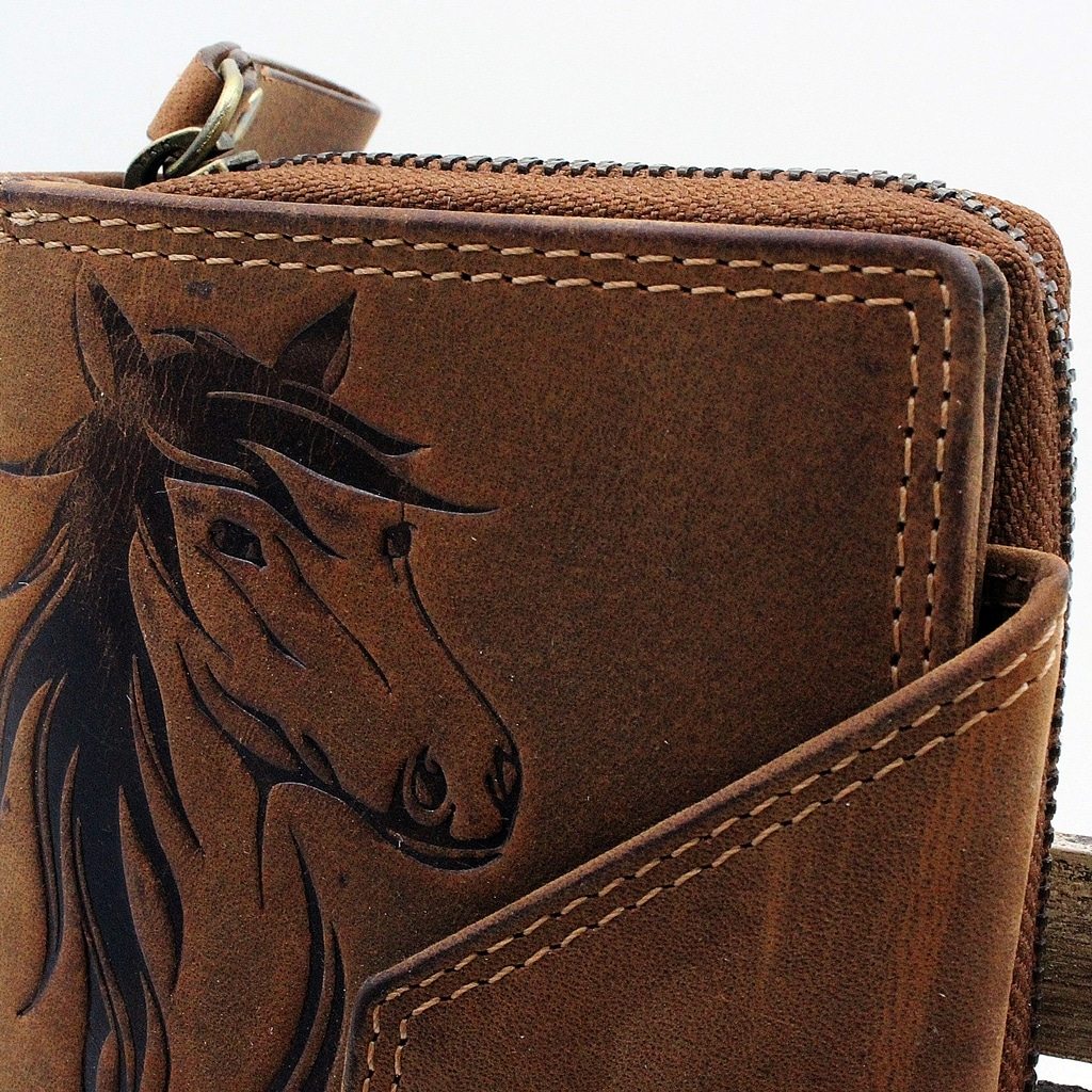 Pferde Portemonnaie Jockey Club cognac Detailaufnahme