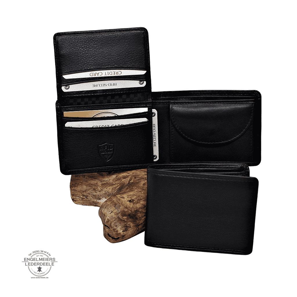 Basic Portemonnaie RFID midi Querformat Jockey Club schwarz Schaltfläche