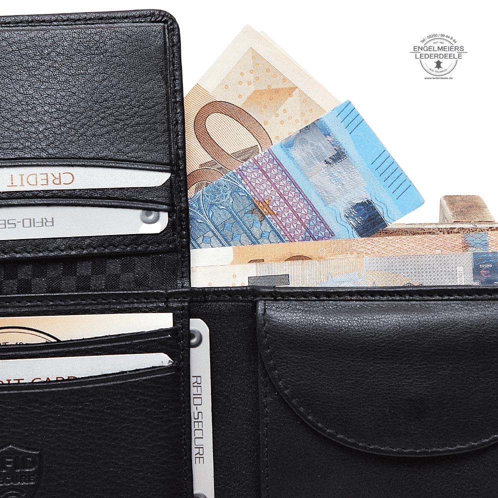 Basic Portemonnaie RFID midi Querformat Jockey Club schwarz Detailaufnahme