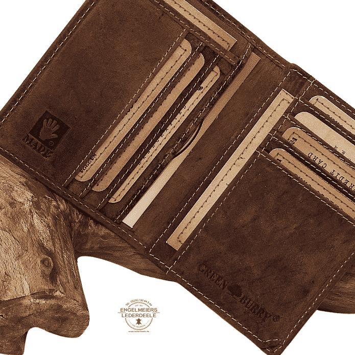 Kartenetui Standard Sattelbraun Green Burry Detailaufnahme