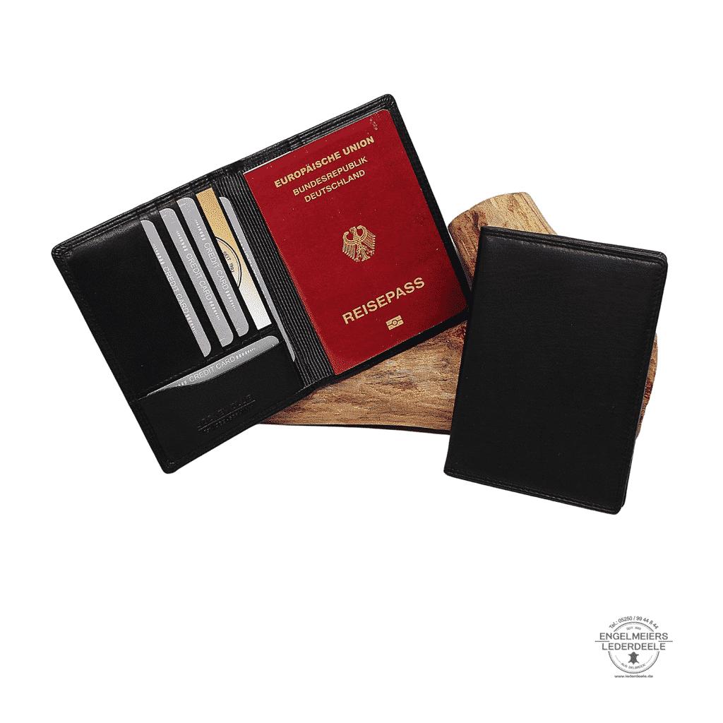 Kartenetui Reisepass Jockey Club schwarz Schaltfläche