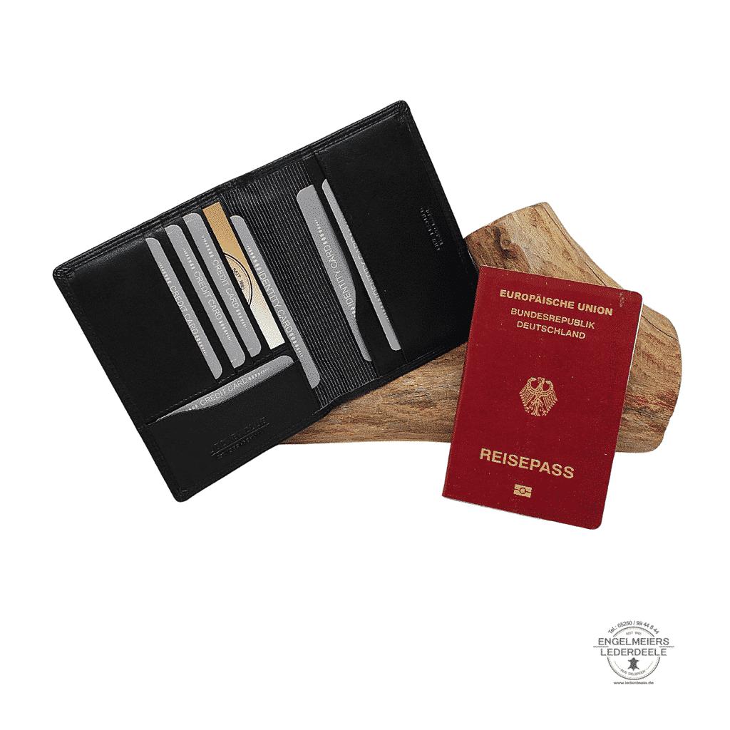 Kartenetui Reisepass Jockey Club schwarz Gesamtansicht