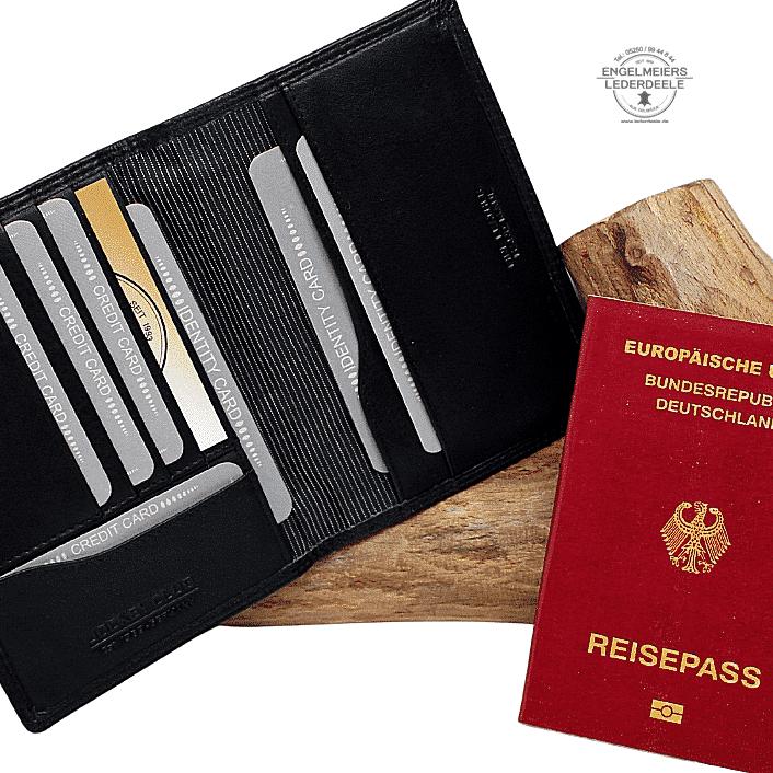 Kartenetui Reisepass Jockey Club schwarz Detailaufnahme