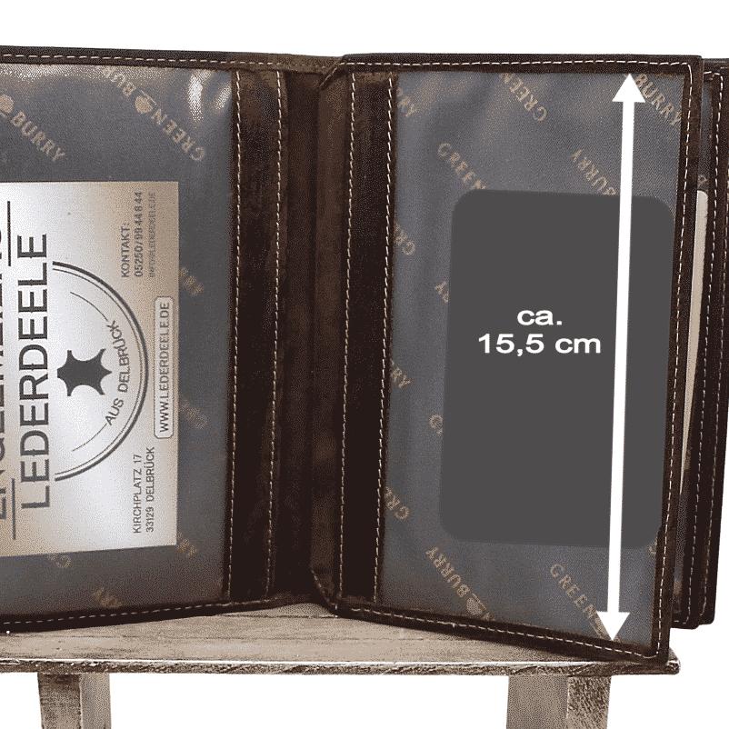 Brieftasche Green Burry Sattelbraun Detailansicht